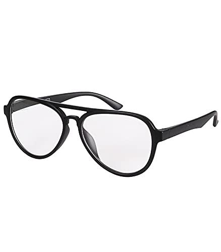 Caripe Herren Damen Lesebrille Pilotenbrille Retro Nerd Vintage Hipster Lesehilfe M4143 (Schwarz Matt + 2,0 dpt)