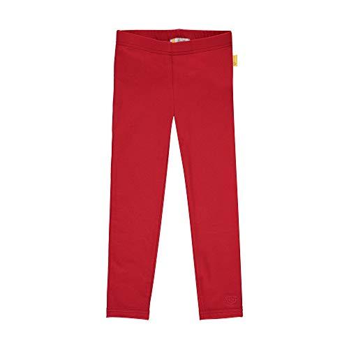 Steiff Mädchen mit süßer Teddybärapplikation Leggings, Rot (Tango RED 4008), 122