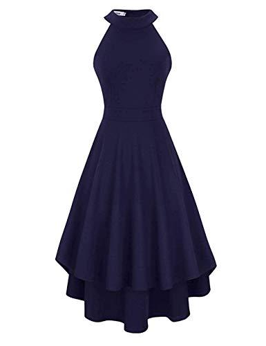 Clearlove Damen Abendkleid Ärmellos Cocktailkleid Neckholder Brautjungfernkleid Elegant Asymmetrisches Partykleid, Navy-nicht Rückenfrei, M