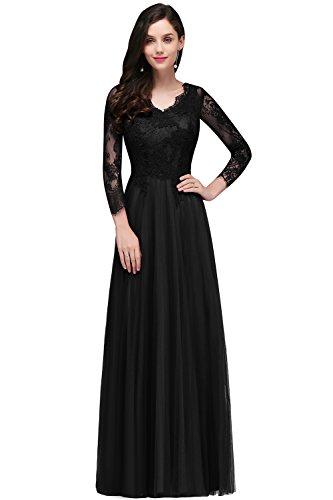 MisShow Damen A-Linie Langarm Spitzen Brautkleid Hochzeitskleid Applique lang Schwarz 32