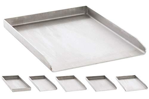 CLP Edelstahl Grillplatte für den Gasgrill, Kohlegrill und den Elektrogrill I Bratplatte mit glatter Oberfläche edelstahl, 34x48x3,6 cm