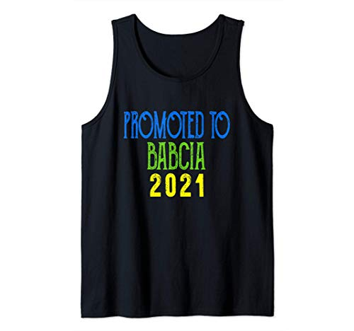 Promoted To Babcia 2021 Pregnancy Announcement Matching Tank Top