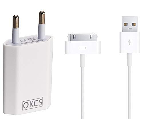 OKCS Ladeset - USB Ladekabel 3 Meter + 1A Netzteil kompatibel für iPhone 4, 4s, iPad 2, 3 & iPod - in der Farbe Weiß