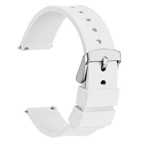 WOCCI 16mm Silicona Correa Reloj con Hebilla Plateada, Liberación Rápida para Hombre Mujer (Blanco)