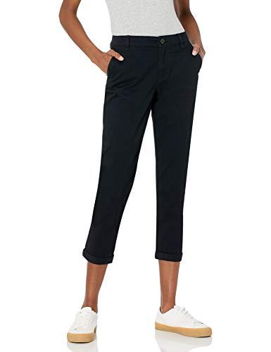 Amazon Essentials Damen Cropped Girlfriend Chino pants, Schwarz, 4