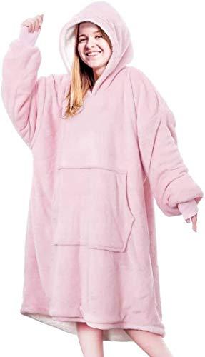 Sudadera con capucha de Anagre, con bolsillo frontal extragrande, con capucha, cómodo para adultos, hombres y mujeres, talla única Rosa. Tallaúnica