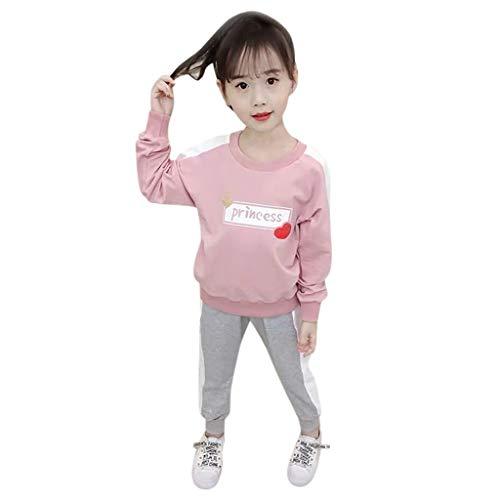 Moneycom❤Enfant en Bas âge bébé Enfants garçons Mode Lettre T-Shirt Hauts + Rayures Pantalon Tenues Rose(2-3 Ans)