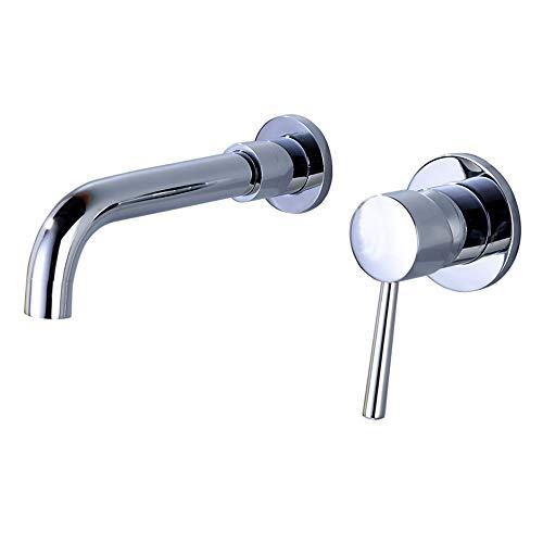 DelongKe waterkraan, wandmontage, chroom, messing, 360 graden draaibaar, 2 gaten, mengkraan, voor badkamer, eenhendel warm en koud, geschikt voor keuken, badkamer, enz.