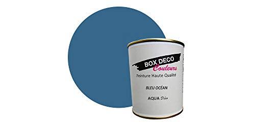 Peinture acrylique aspect mat Aqua déco - Murale - 44 couleurs - 750 ml - 7.5 m² (Bleu océan)
