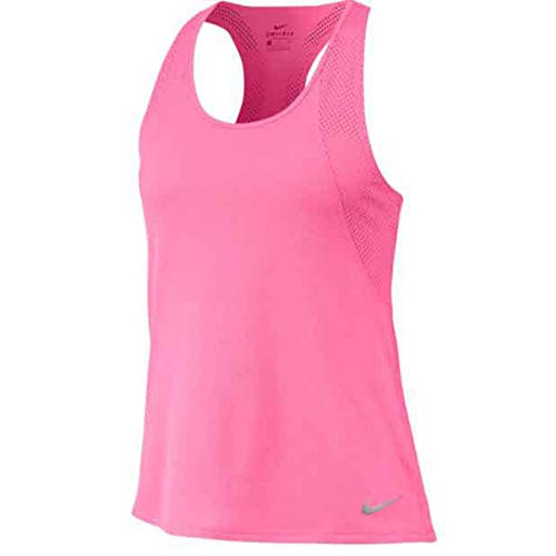 NIKE W NK Run Tank Tank Top, Mujer, Pink Glow/Pink Glow/Reflective Silv, XS