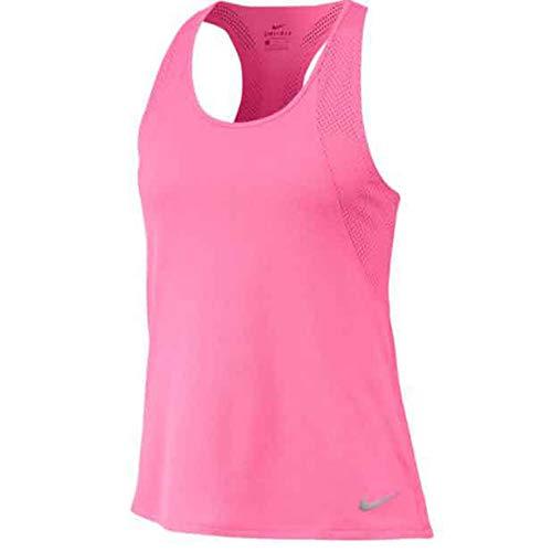 NIKE W NK Run Tank Tank Top, Mujer, Pink Glow/Pink Glow/Reflective Silv, M
