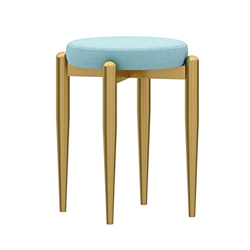 WSDSX Furniture Dining Chair, Home Makeup Stool, Comfortable Conference Reception Chair, Iron Small Apartment Cute Dressing Stool, for Living Room, Bedroom, Office,Light Blue,41x44cm