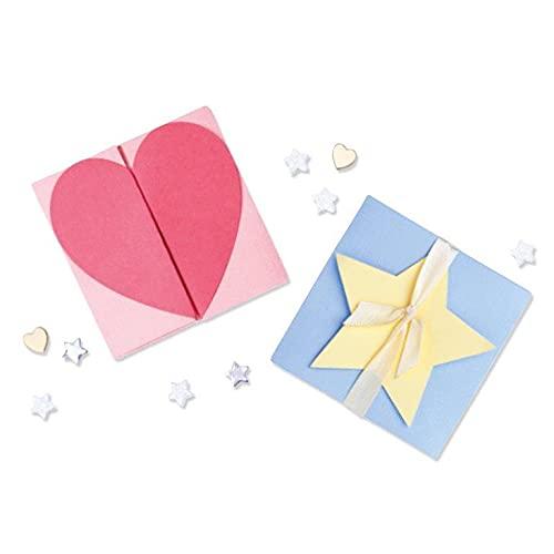 Sizzix Juego de Troqueles Thinlits, Caja de 5 Unidades, corazón y Tarjeta Estrella por Kath Breen, 665479, Multicolor, One Size