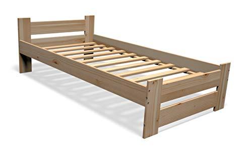 Best For You Massivholzbett Doppelbett Futonbett Massivholz Natur Seniorenbett erhöhtes Bett aus 100% Naturholz mit Kopfteil und Lattenrost viele Größen (90x200cm)