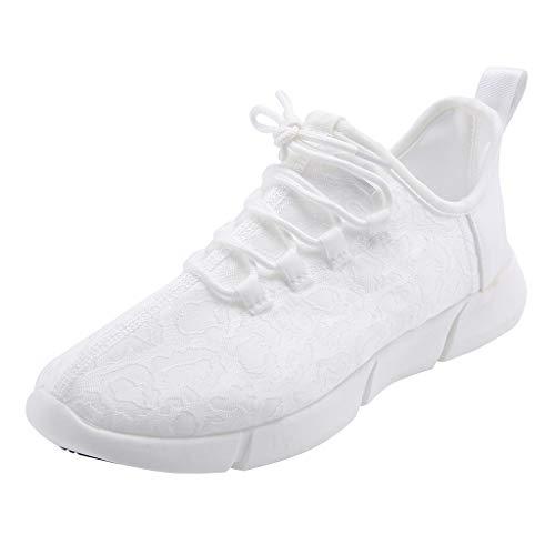 FeiBeauty Unisex Laufschuhe Sportschuhe,Paar Lace-Up führte helle Freizeitschuhe bunte Flash-Schuhe atmungsaktive Turnschuhe Weiß, Pink 35-46EU