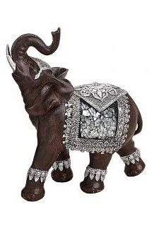 Splendida statuetta elefante 6x 14x 17cm marrone/argento