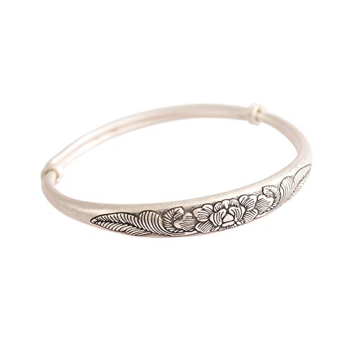 Vintage Fine Silver Peony Carving Adjustable Bangle, Fine Silver Flower Bracelet,Sterling Silver Cuff For Women,S990 Cuffs,S990 Jewelry