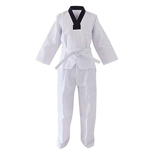 Yiliankeji Dobok Taekwondo Kimono Uniforme Traje - Unisex Adulto Niño Deportes Ropa Karate Aikido Trajes Artes Marciales Entrenamiento Judo Sudadera Cuello En V Conjuntos Cinturones