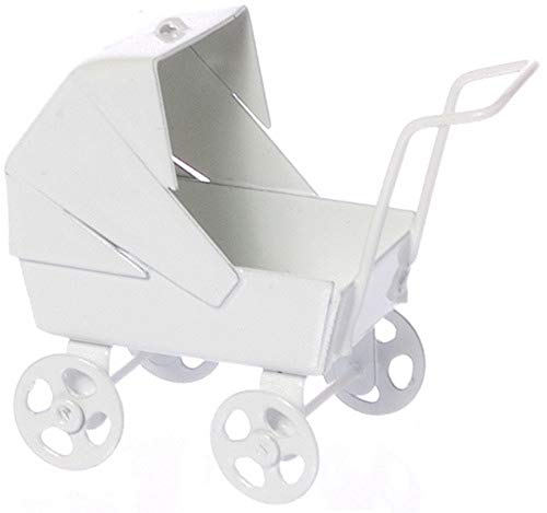 Dollhouse Miniature 1:12 Scale White Pastel Baby Carriage Ma1329 by Town Square Miniatures