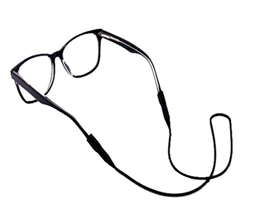 3Pcs Silicone Gel Anti-Slip Eyeglasses Strap Sports Glasses Strap Holder Eyewear Retainer Glasses Chain for Adults and Kids (Black)