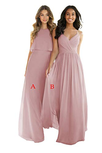 Nicefashion Women's V-Neck Sleeveless Bridesmaid Dresses Long A-Line Plests Sleeveless Evening Party Gowns Size 2 Dusty Rose