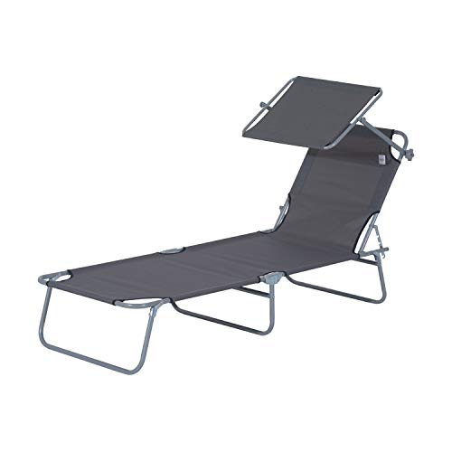 Outsunny Tumbona Hamaca Plegable con Parasol Inclinable Playa Piscina 187x58x27 cm Acero Gris