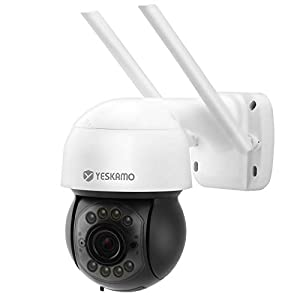 YESKAMO Wireless CCTV Camera with Floodlight and 2 Way Audio, 3MP Outdoor Security Camera, WiFi Home Camera with Human Motion Activated Alert, Siren Alarm, Color Night Vision, SD Card Not Included