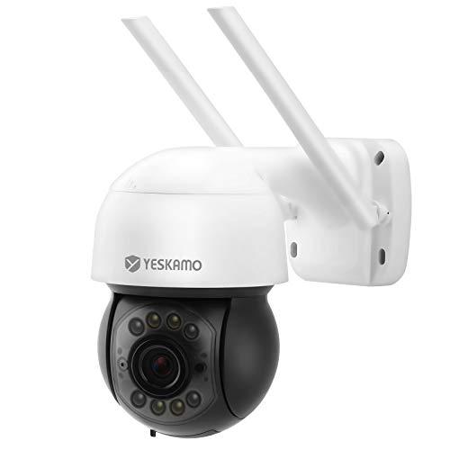 3MP PTZ Überwachungskamera für Aussen & Innen, YESKAMO Kabellose WLAN Kamera Digitaler Zoom Dome Kamera mit...