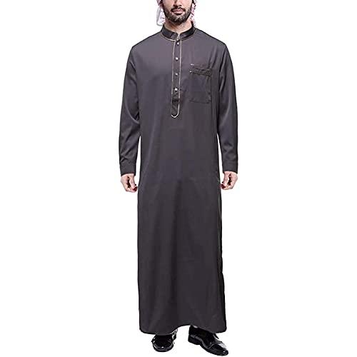 Robe de Cuello Redondo con Cremallera Impreso de Hombres de Oriente Medio, Tela cómoda de poliéster, sin Elasticidad, para la oración de Ramadam (Color : Gray, Size : X-Large)