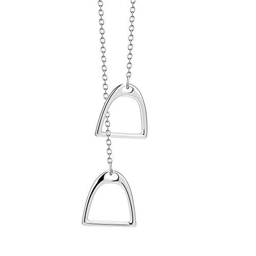 Silver Mountain 925 plata de ley Caballo Estribo Colgante Collar, 45cm