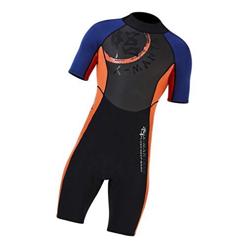 #N/A 1,5mm Herren Neopren Surfshorty Surfanzug Einteiliger Schwimmanzug Neoprenanzug Tauchanzug, Shorty Jumpsuit - XXL