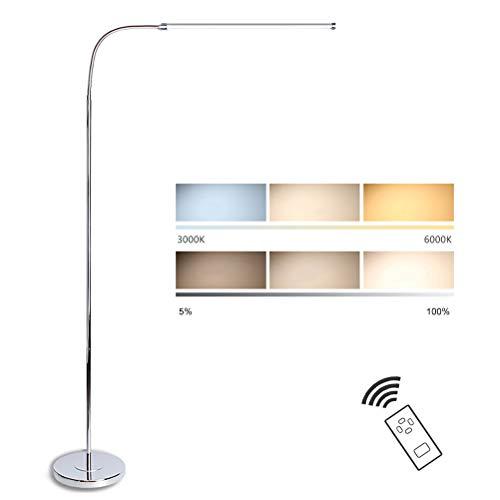 GUSICA Lámpara de Pie 12W LED Regulable, Luz de Lectura con Control Remoto, Lámpara de Suelo para Sala, Dormitorio,Estudio, Oficina, Luz Cuidado Ojos, Cuello Flexible 360°