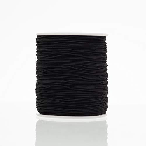 Crafare 1mm Black Elastic Cord Beading Thread Stretch String for Holiday Jewelry Bracelet Braided Craft Making 149 Yards/ 446 Feet
