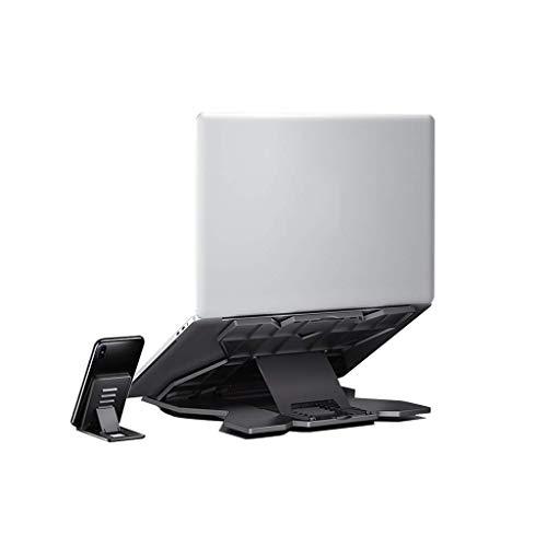 GJHK Soporte para ordenador portátil, soporte de plástico giratorio para computadora portátil, antideslizante, plegable, suministros de oficina color negro (color: B)