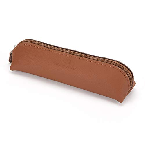 Antony Olivier Leather Pencil Case | Vintage Tan Pouch with Zipper | for Men & Women | Perfect Size for Stationery, Makeup or Art Utensils | FREE Executive Spinning Top | Packaged in a Kraft Gift Box