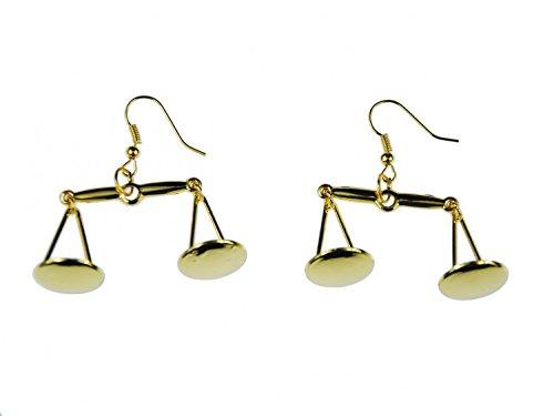 Miniblings Waage gold Ohrringe Hänger Sternzeichen Waage Tellerwaage Gold Jura - Handmade Modeschmuck I Ohrhänger Ohrschmuck vergoldet