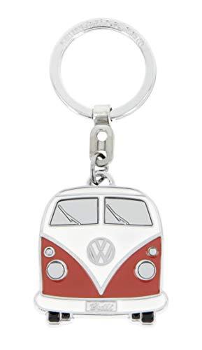 Brisa VW Collection - Volkswagen Furgoneta Hippie Bus T1 Van Llavero Vintage en una Caja de Regalo, Anillo de Llavero Retro, Accesorios del Coche como Idea de Regalo/Souvenir (Frente/Naranja&Blanco)