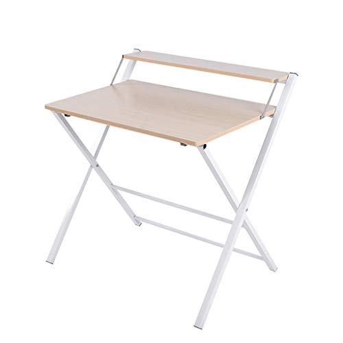NYDZ Pequeño escritorio plegable para computadora, oficina en casa portátil, mesa de dos pisos, escritorio, mesa de lectura compacta de estudio para espacio pequeño, mesa de oficina para ahorr