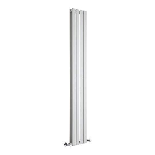 Hudson Reed Radiador de Diseño Moderno Vertical Delta - Radiador con Acabado Blanco - Paneles Planos - 1780 x 280mm - 990W - Calefacción