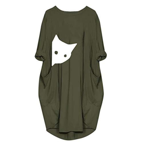 LOPILY Damen Sommerkleider Casual Pocket Strand Party Karneval T-Shirt Kleid Blusenkleid Einfarbig Einfach Bequem Freizeit Strandkleid Schlauchrock Minikleid mit Taschen (Grün, 40)