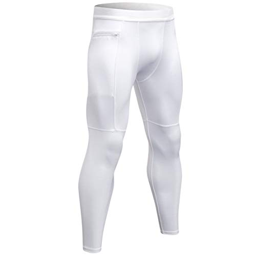 HIOD Compression Pants Men's Tights Elastic Fabric Base Layer Leggings Best Running/Workout,White,XXL