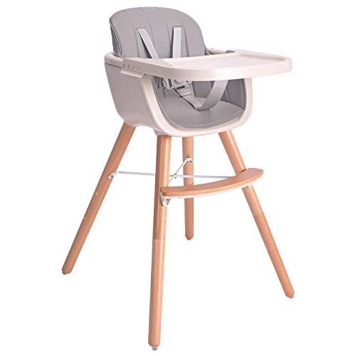 Baby High Chair, Wooden High Chair with Removable Tray and Adjustable Legs for Baby/Infants/Toddlers,Gray