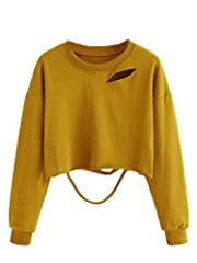 Material: Polyester. Fabric has some stretch Long sleeve, crewneck/round neck, cut out distressed design, crop t shirt for women, womens pullover sweatshirt Super soft and comfy fabric, great to match with high waisted jeans, shorts or skirts for a c...