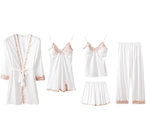 Chongmu Mujer Satinada Pyjama Sets Sexy Seda Ropa de Dormir 5pcs Ropa de Noche Encaje Camisón Pijama Pantalones