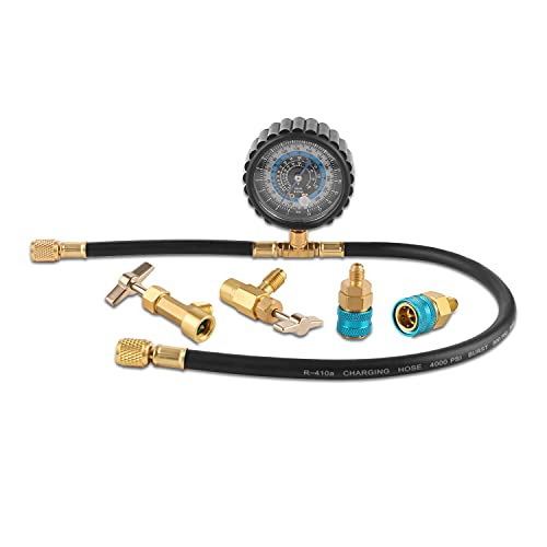 Lichamp Refrigerator Freon Recharge Kit R134a R1234yf, AC Charge Hose with Gauge, 123442
