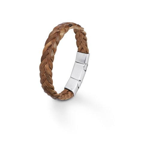 S.Oliver Herren Armband Edelstahl matt Leder braun geflochten 19,5+1,5 cm