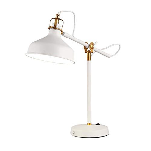 ZY/Nordic eenvoudige tafellamp, werkkamer, woonkamer, nachtkastje, ijzer, schakelaar, wit, 48 cm hoog, 20 cm breed