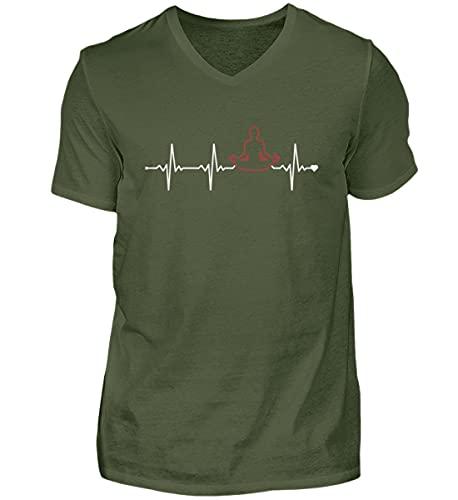 Kundalini Yoga Hatha Yoga   00965 - Camiseta para hombre con cuello en V, Verde de la ciudad., M