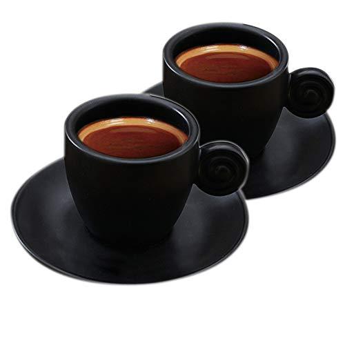 Espresso Kaffeetasse und Untertasse, Matte, Keramik, 90 ml, Teetassen Mattschwarz 2 Tassen