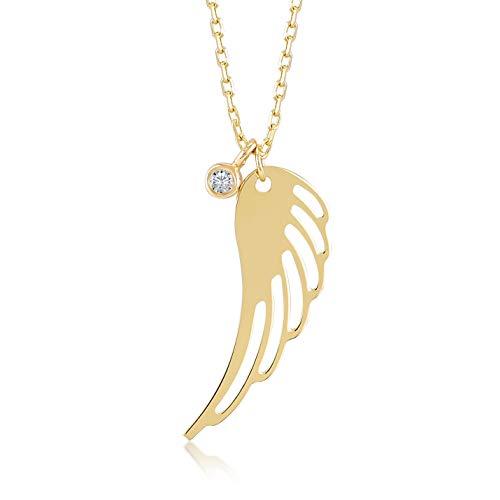 Gelin Damen Goldkette 14 Karat 585 Echtgold mit Engelsflügeln und 0.01ct Diamant als Anhänger Kette 45cm Geschenk für